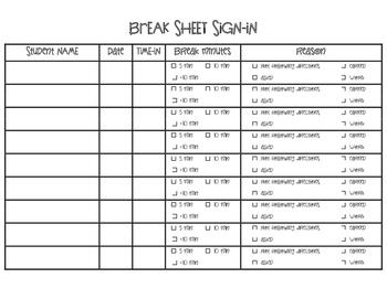 Resource Room Break Sign In Sheet