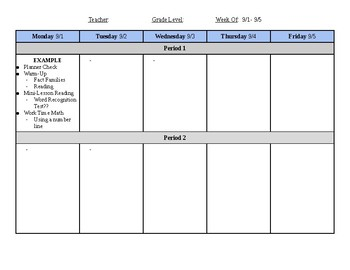 Resource Room Lesson Plan Template