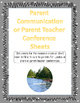 Resource Room Parent Teacher Conference Sheet
