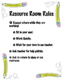 Resource Room Rules Poster