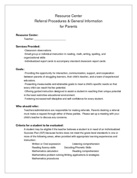 Resource / Special Education Referral Procedures for Parents