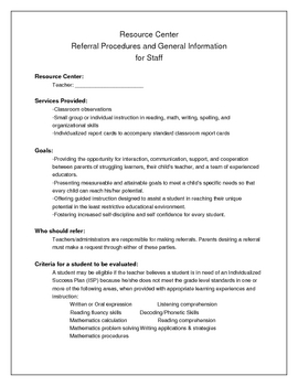 Resource / Special Education Referral Procedures for Staff