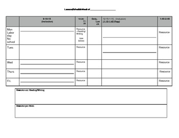 Resource Teacher schedule template by Jeanette Herndon | TpT