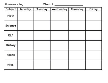 Resource weekly homework tracking sheet by world history for Tracking sheet template for teachers