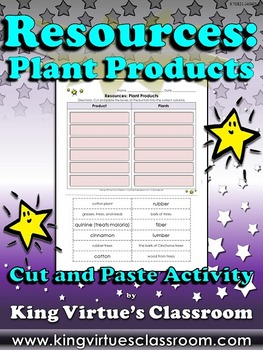 Resources: Plant Products Cut and Paste Activity - Example