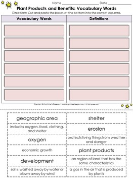 Resources: Plant Products and Benefits Vocabulary Words Cut and Paste Activity