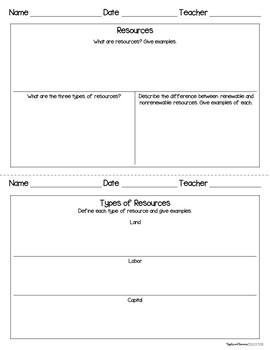 Resources and Scarcity - Economics Interactive Note-taking Activities