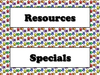 Resources and Specials Strips - Owls Theme - King Virtue