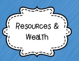 Resources and Wealth/ Economy-  Word Wall/ Bulletin Board