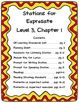 Spanish 3 stations (back-to-school, review material, chapter 1 of Expresate)