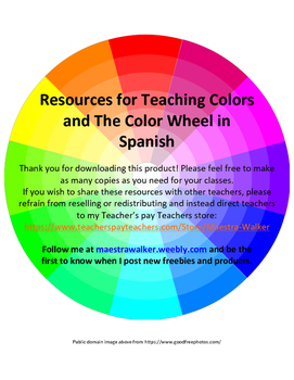 resources for teaching colors and the color wheel in spanish by maestra walker