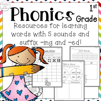 Resources for learning words with 5 sounds & the suffixes -ing & -ed!