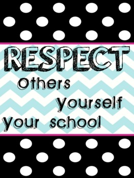 Respect Poster Black/White/Turquoise