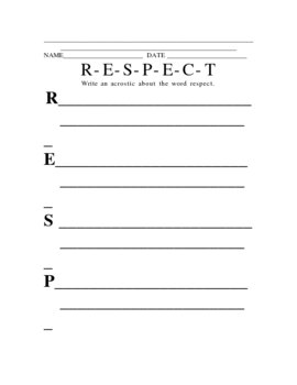 Respect Poster and Acrostic