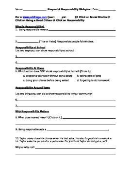 Respect & Responsibility PebbleGo Webquest