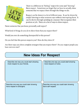 Respect Workbook Pages