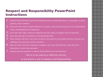 Respect and Responsibility Post Reading Unit Student Reflection Presentation