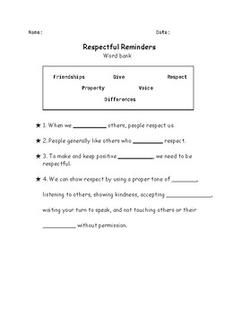 Respect lesson printables! (word bank activity + someone you respect + drawing)