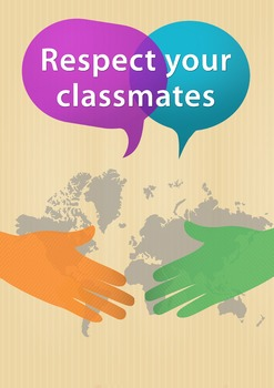 """Respect your classmates"" Class rule poster for ESL students"