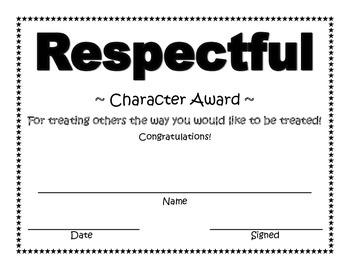 Respectful Character Award