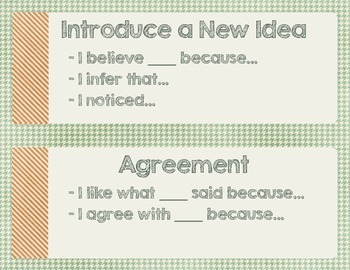 Respectful Discourse Sentence Starters Posters