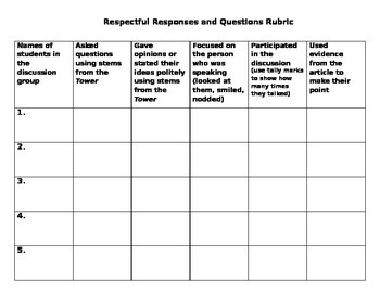 Respectful Responses and Questions Tower