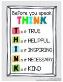 Respectful Speaking Chart - Before you Speak, THINK
