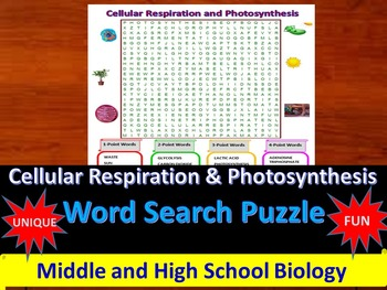 Respiration & Photosynthesis - A fun & unique Word Search