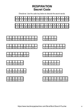 Respiration - Word Search Puzzle, Word Scramble,  Crack the Code