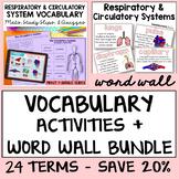 Respiratory System   Circulatory System Vocabulary Bundle