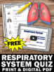 FREE Respiratory System Test, Human Body Systems Grade 5 Assessment