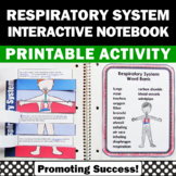 Respiratory System Activity, Human Body Systems Interactive Notebook 5th Grade