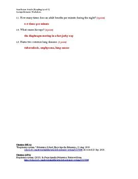 Respiratory System (Reading Level 1) Comprehension Worksheet