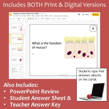 Respiratory System Task Cards with PowerPoint Review