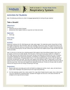 Respiratory System Teacher's Guide (Pre-K to Grade 2)