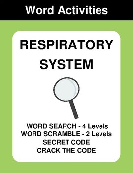 Respiratory System - Word Search Puzzle, Word Scramble,  Crack the Code