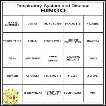 Respiratory System and Disease BINGO