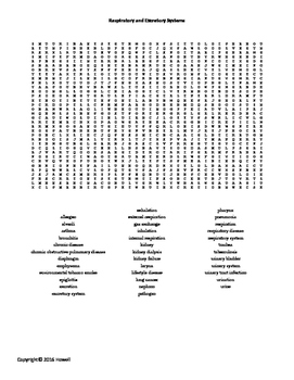 Respiratory and Excretory Systems Word Search for Middle School Science