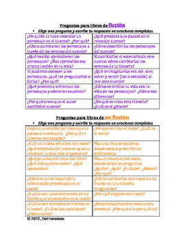 Responder a la Lectura - Reading Response Journal - Spanish