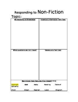 Responding To Non-Fiction Text Organizer