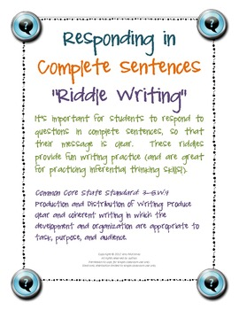 Responding in Complete Sentences Riddle Writing Pages