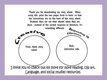 Responding to Literature Story Wheel, A Creative Way to Respond to a Book Study