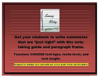 Summarizing Non-Fiction (for informational writing/teaching main idea/details)