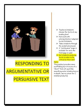Responding to Persuasive or Argumentative Text [short analysis page]