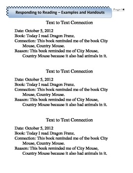 Responding to Reading Examples Handouts