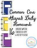 Common Core Daily Reading Homework