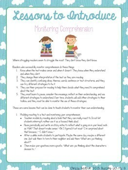 Responding to Reading: Reader's notebooks and monitoring comprehension freebie