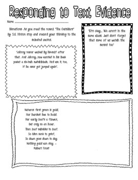 Responding to Text Evidence - The Outsiders
