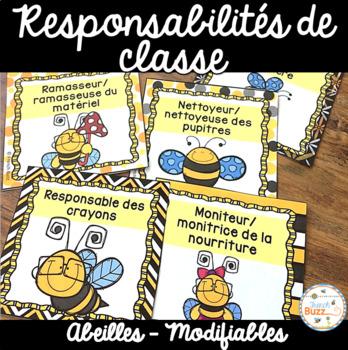 Responsabilités dans la classe - French Classroom Jobs - Thème: abeilles