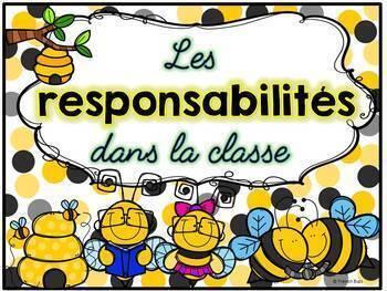 Responsabilités de classe - French Classroom Jobs - Thème: abeilles